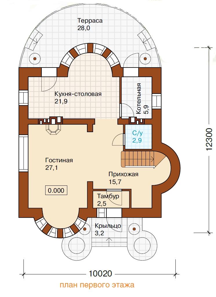 Проект кирпичного дома k-177-1k.